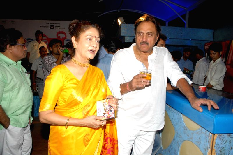 Actress Sridevi, filmmakers Boney Kapoor, Parbhu Deva and actor Aruna Irani during the music launch of Marathi film Bol Baby Bol in Mumbai on April 11, 2014. - Sridevi, Kapoor and Aruna Irani