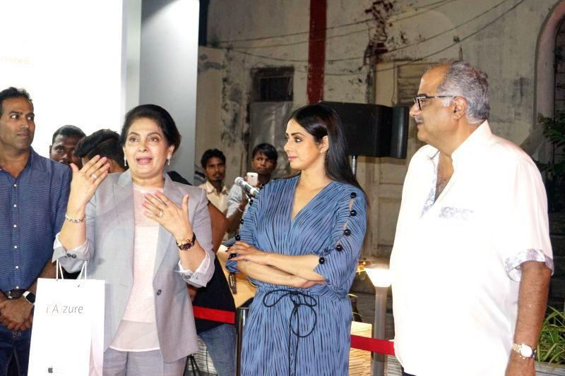 Actress Sridevi with her husband and film producer Boney Kapoor at the launch of  iPhone 8 in Mumbai, on Sept 29, 2017. - Sridevi and Kapoor