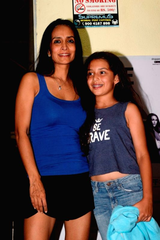 Actress Suchitra Pilla with her daughter Annika Kjeldsen seen at a cinema theatre in Juhu, Mumbai on July 13, 2018. - Suchitra Pilla