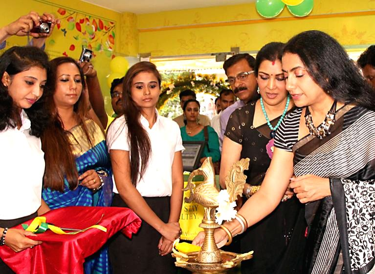 Actress Suhasini and dancer Vani Ganapaty during inauguration of a showroom in Bangalore on June 30, 2014.