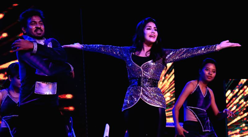 Actress Sunny Leone dance performance during a programme in Jaipur on June 16, 2014.