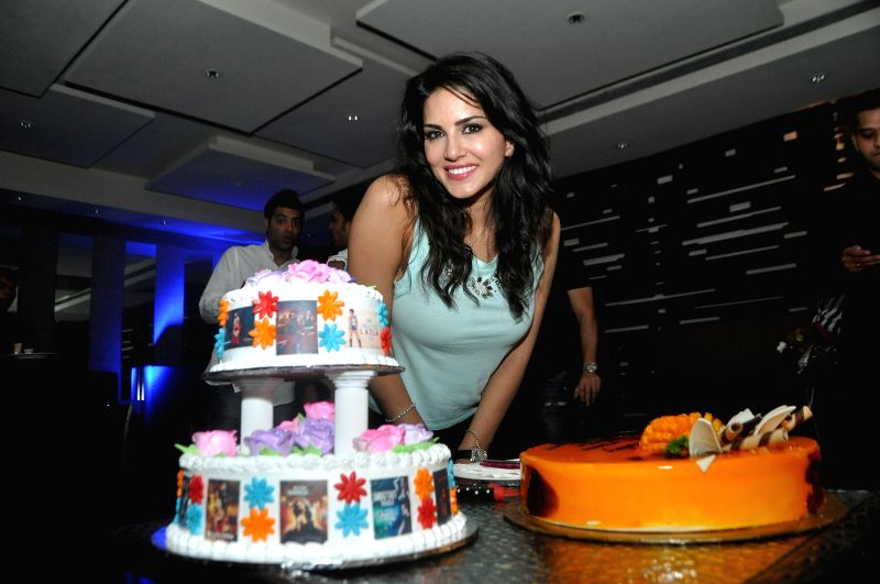 Actress Sunny Leone during her birthday celebrations in Mumbai on May 13, 2014.