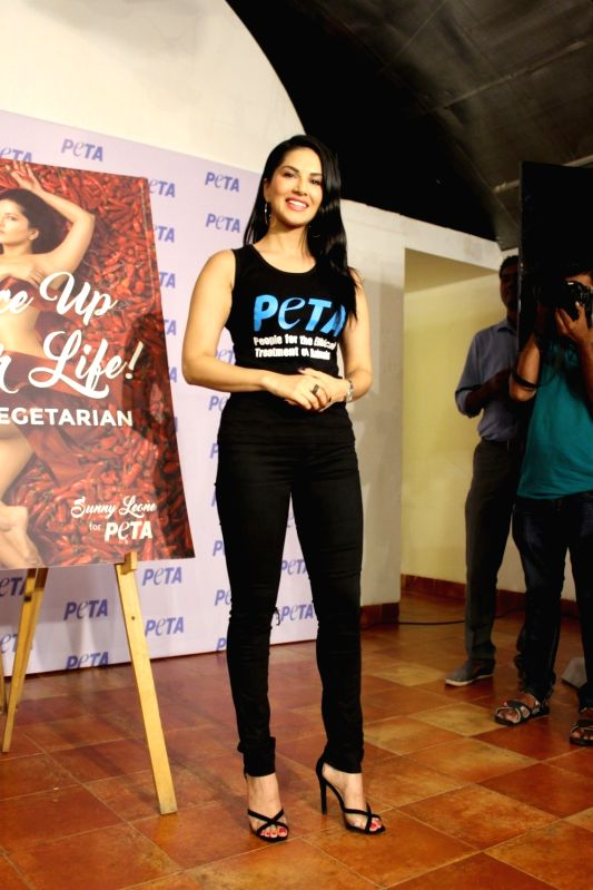 Actress Sunny Leone during the launch of newest vegetarian campaign of People for the Ethical Treatment of Animals (PETA) in Mumbai on June 1, 2017. - Sunny Leone