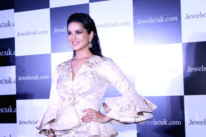 Actress Sunny Leone during the launch of online jewellery store, Jewelsouk, new Television commercial in Mumbai on April 18, 2017. - Sunny Leone
