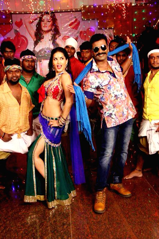 Actress Sunny Leone on the sets of a film in Bangalore on Aug 4, 2014.