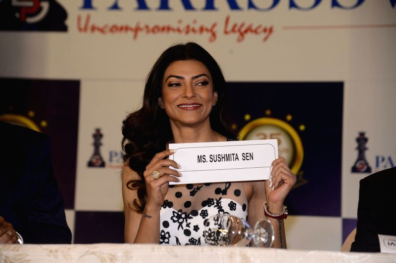 Actress Sushmita Sen at the logo launch of a real estate company in Mumbai on April 12, 2018. - Sushmita Sen