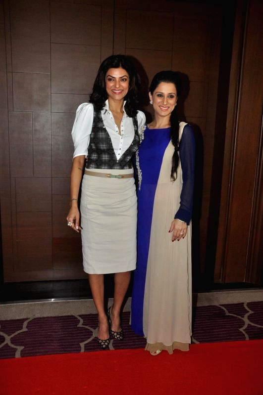 Actress Sushmita Sen with Muralist and artist Rouble Nagi co-host during the co-host power luncheon for women in Mumbai on April 30, 2014.