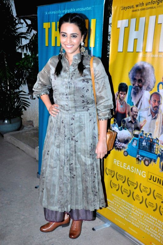 Actress Swara Bhaskar during the screening of Kannada film Thithi, in Mumbai, on May 30, 2016. - Swara Bhaskar