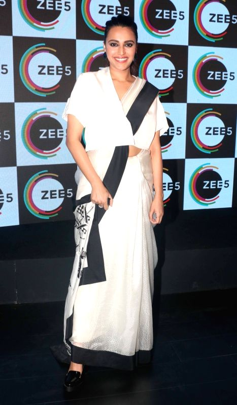 Actress Swara Bhasker at the launch of  ZEE5 digital entertainment in Mumbai on Feb 14, 2018.