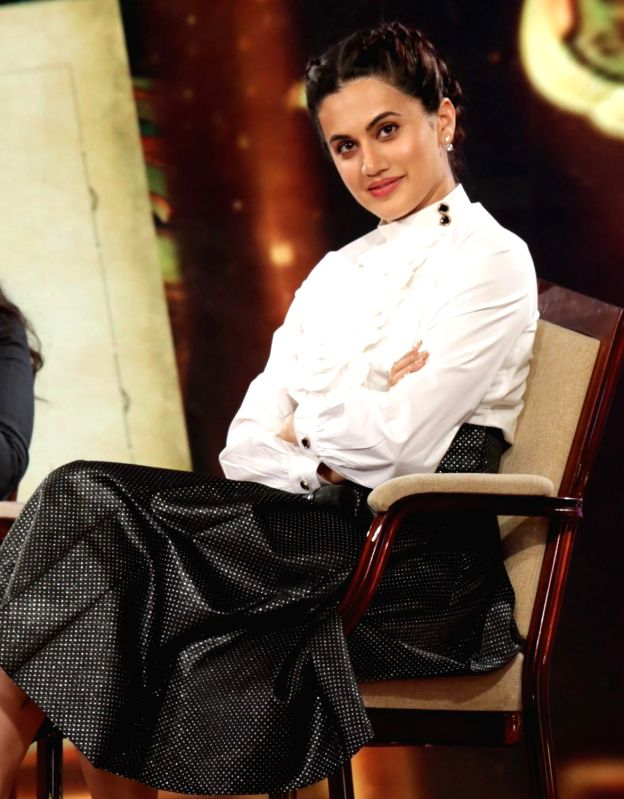 "Actress Taapsee Pannu at IBN 7's ""Chaupal"" in New Delhi, on Aug 7, 2018. - Taapsee Pannu"