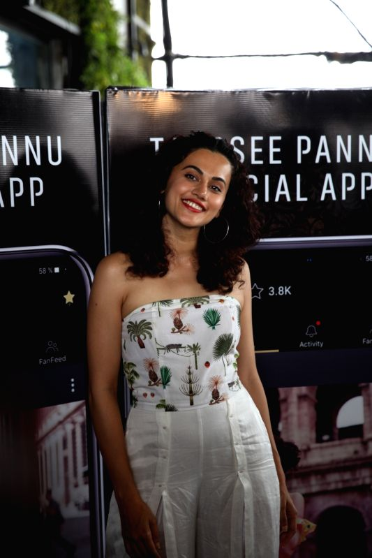 "Actress Taapsee Pannu at the launch of her own mobile application - ""Taapsee Pannu official App"" in Mumbai. - Taapsee Pannu"