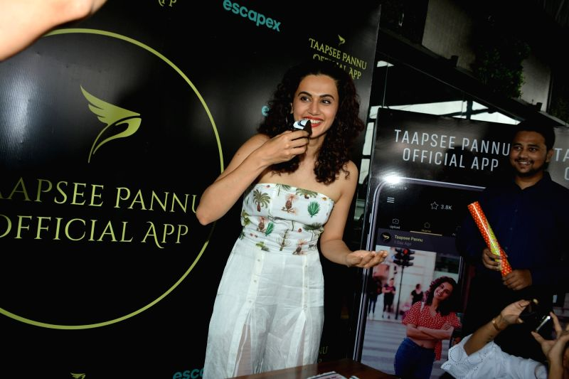 "Actress Taapsee Pannu at the launch of her own mobile application - ""Taapsee Pannu official App"" in Mumbai on Aug 1, 2018. - Taapsee Pannu"