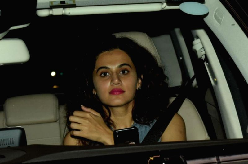 """Actress Taapsee Pannu at the special screening of film """"October"""" in Mumbai on April 12, 2018. - Taapsee Pannu"""