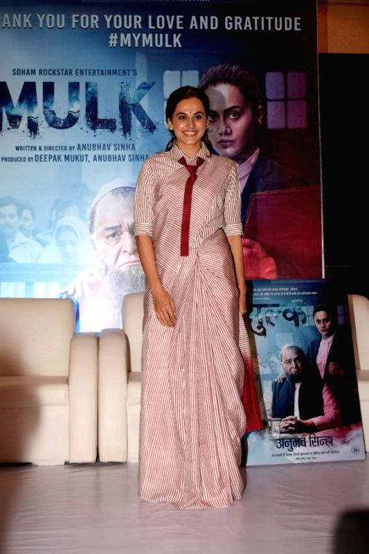 "Actress Taapsee Pannu at the success party of her film ""Mulk"" in Mumbai on Aug 10, 2018. - Taapsee Pannu"