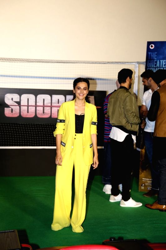 """Actress Taapsee Pannu at the trailer launch of her upcoming film """"Soorma"""" in Mumbai on June 11, 2018. - Taapsee Pannu"""