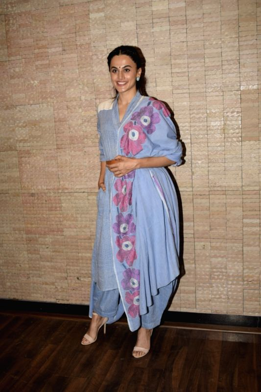 """Actress Taapsee Pannu during a media interaction of her upcoming film """"Mulk"""" in Mumbai on July 26, 2018. - Taapsee Pannu"""