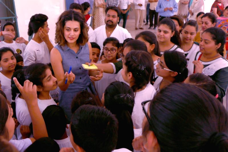 Actress Taapsee Pannu during her visit to her school Mata Jai Kaur Public School in New Delhi on May 26, 2017. - Taapsee Pannu