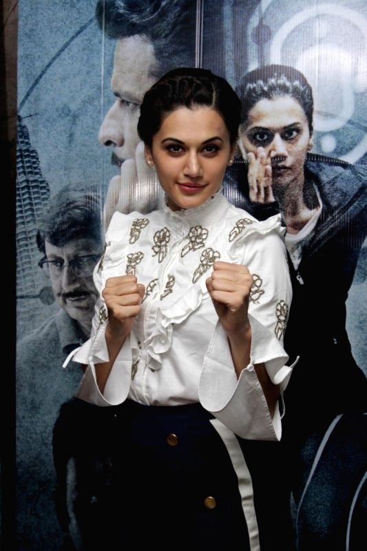 Mumbai: Actress Taapsee Pannu during the song launch Zinda from film Naam Shabana in Mumbai on March 10, 2017.