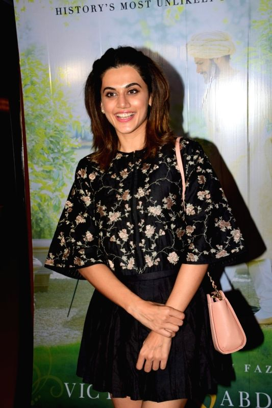 """Actress Taapsee Pannu  during the special screening of film """"Victoria & Abdul"""" in Mumbai on Oct 5, 2017."""