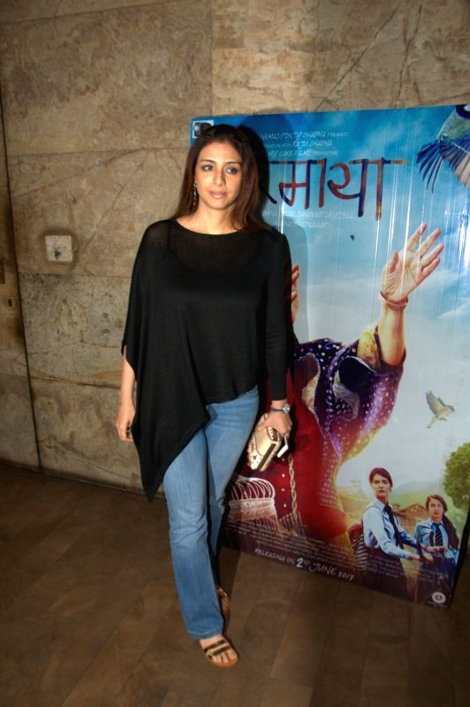 Actress Tabu during the screening of film Dear Maya on June 4, 2017. - Tabu