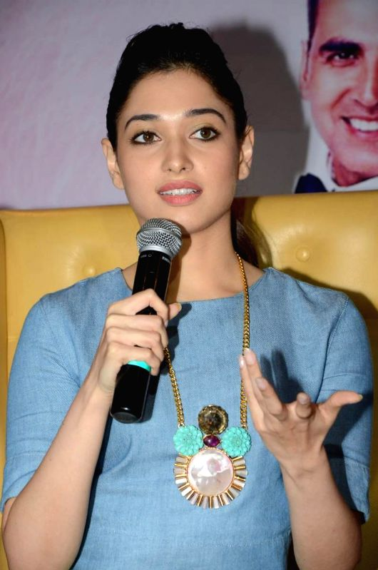 Actress Tamanna during her film `Entertainment` promotional press meet in Hyderabad on Aug 4, 2014. - Tamanna