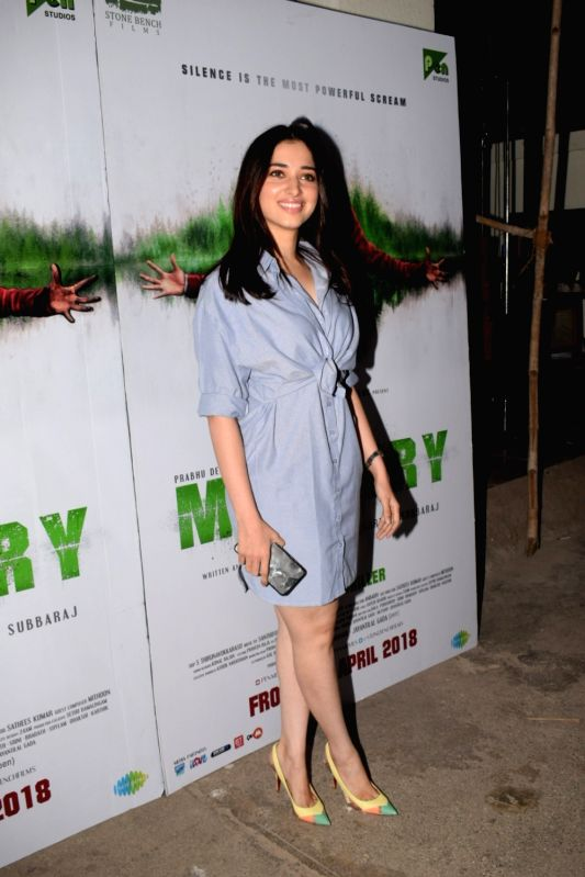 "Actress Tamannaah Bhatia at the special screening of  film ""Mercury"" in Mumbai on April 12, 2018. - Tamannaah Bhatia"