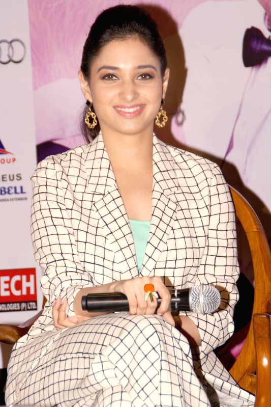 Actress Tamannaah Bhatia during a press conference to promote her upcoming film `Entertainment` in New Delhi on Aug 7, 2014. - Tamannaah Bhatia