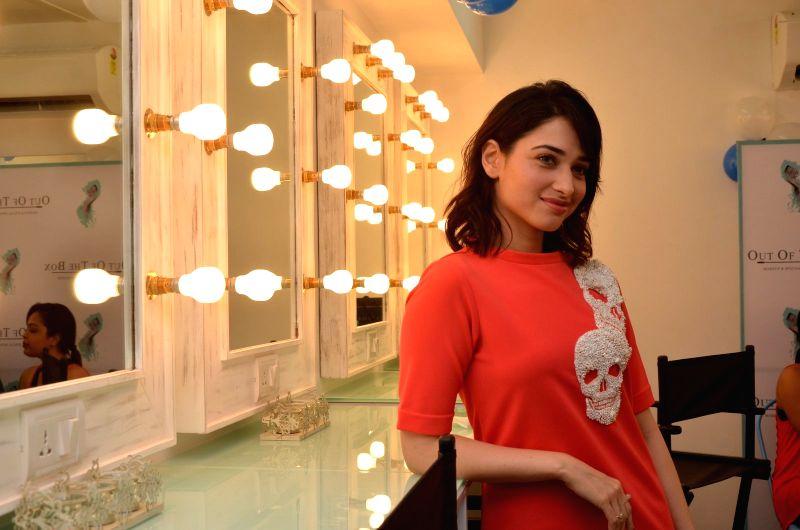 Actress Tamannah Bhatia during the launch of makeup artiste Billy Manik`s make up academy Out Of The Box-Makeup, in Mumbai on May 28, 2016. - Tamannah Bhatia