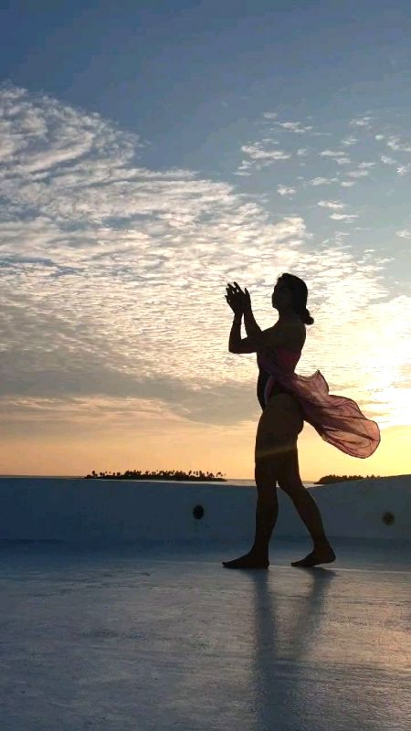 Actress Tanishaa Mukerji shared a motivating post for her followers on Instagram on Tuesday. The actor posted a video of her doing yoga asanas outdoor. She is currently holidaying in Maldives.