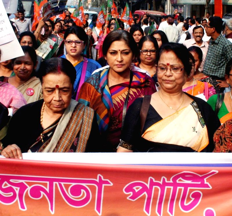 Actress turned BJP leader Roopa Ganguly stage a demonstration against West Bengal Government in Kolkata, on Jan 16, 2016.