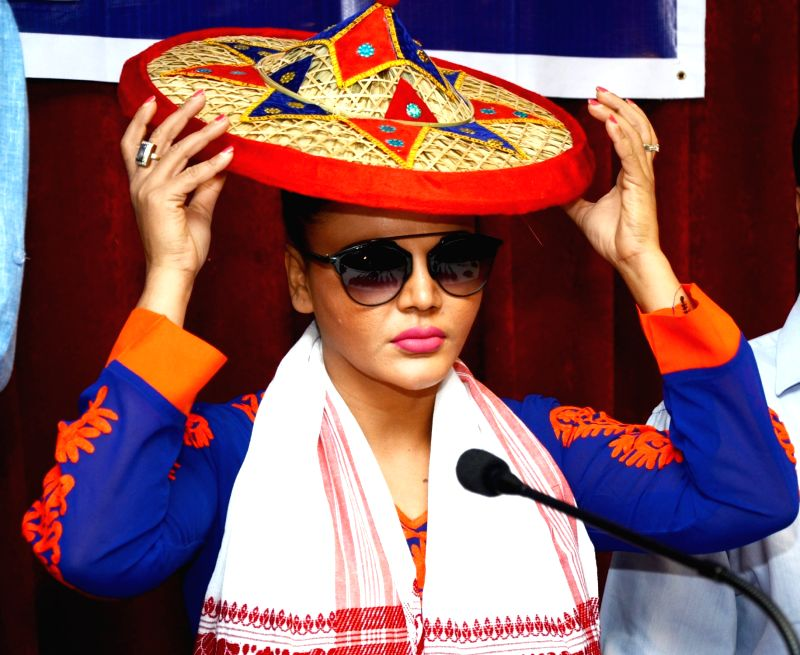 Actress turned politician Rakhi Sawant ​during​ a Republican Party of India (RPI) press conference in Guwahati, on April 6, 2016.