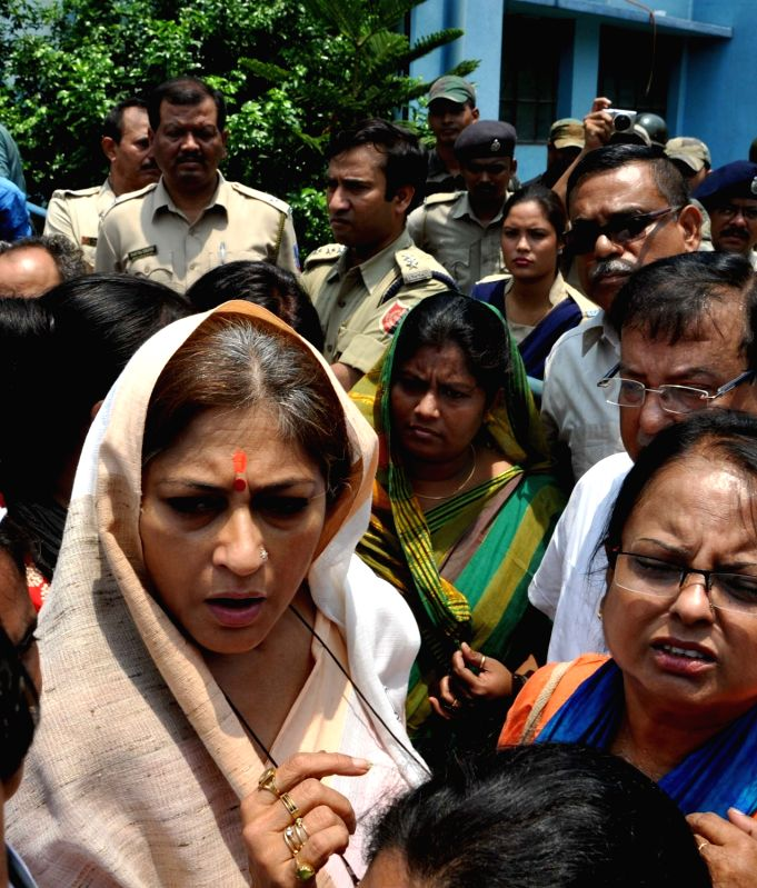 Actress turned politician Roopa Ganguly leads a BJP Mahila demonstration against  led by stage a demonstration against rape of a 25 year old woman in Salt Lake, in Kolkata, on May 31, 2016.