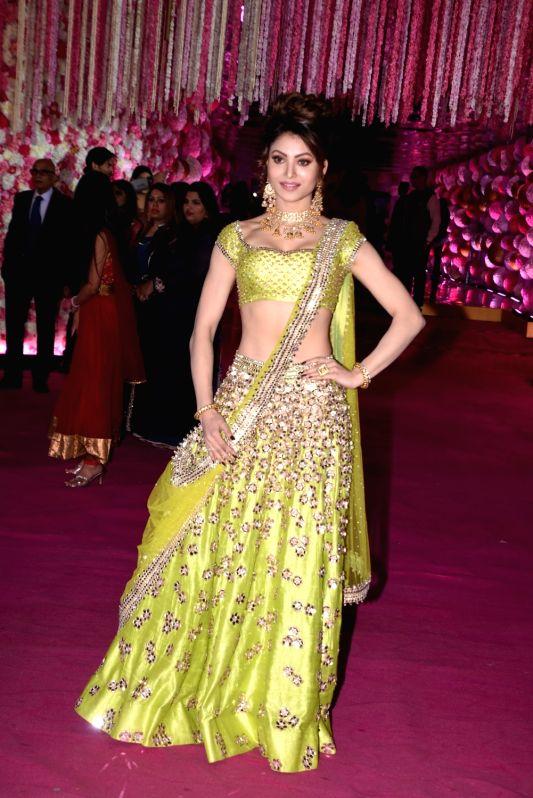Actress Urvashi Rautela at Azhar Morani and Tanya Seth's wedding reception in Mumbai on Feb. 9, 2019.
