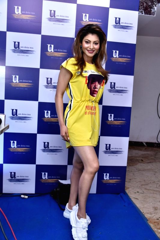 Actress Urvashi Rautela at the grand opening of a hotel, in Mumbai, on May 4, 2019.