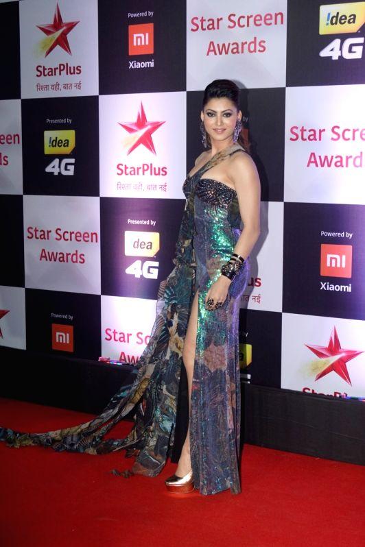 Actress Urvashi Rautela at the red carpet of Star Screen Awards 2018 in Mumbai, on Dec 16, 2018.
