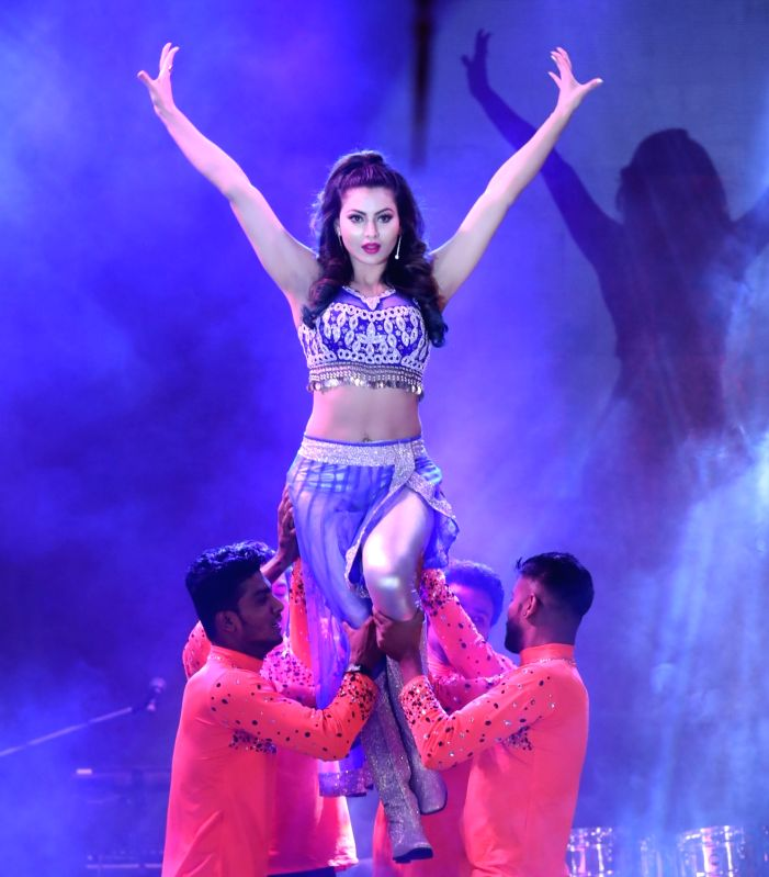 Actress Urvashi Rautela performs at the launch of a real estate project in Gurugram, on May 14, 2017. - Urvashi Rautela