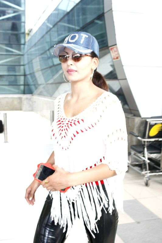 Actress Urvashi Rautela spotted at the domestic airport in Mumbai, on July 30, 2015.