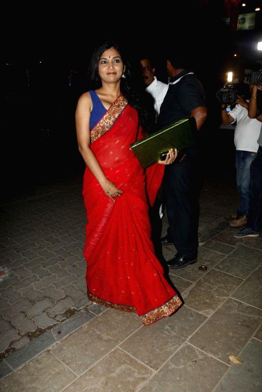 Actress Usha Jadhav arrive to attend the Amitabh Bachchan's Diwali party in Mumbai on Nov 11, 2015. - Usha Jadhav
