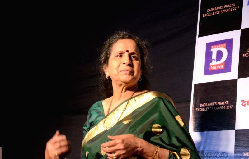 Actress Usha Nadkarni at the Dadasaheb Phalke award function in Mumbai on April 21, 2017. - Usha Nadkarni