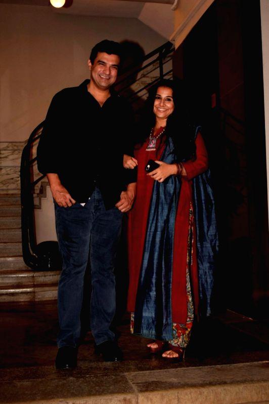 "Actress Vidya Balan along with her husband Siddharth Roy Kapur at the pre-release party of upcoming film ""Karwaan"" in Mumbai on July 26, 2018. - Vidya Balan and Siddharth Roy Kapur"