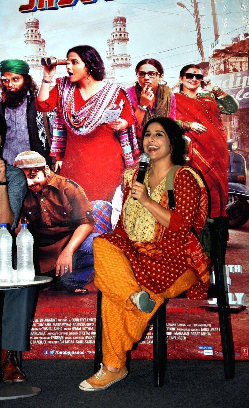 Actress Vidya Balan during a press conference to promote their upcoming film `Bobby Jasoos` in Gurgaon on July 2, 2014. - Vidya Balan
