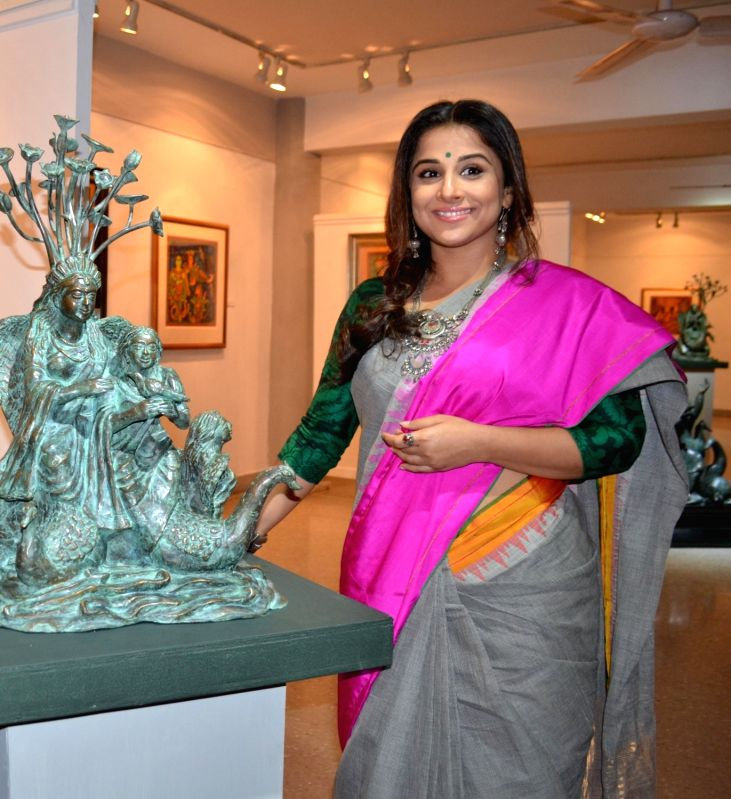 Actress Vidya Balan during the inauguration of a painting and sculpture exhibition in Kolkata on Nov 19, 2015.