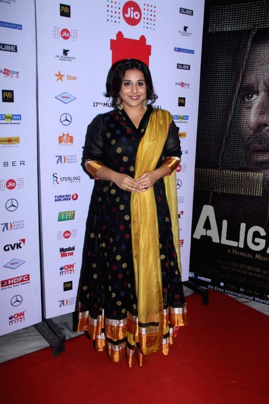 Actress Vidya Balan during the premiere of film Aligarh at Jio MAMI 17th Mumbai Film Festival in Mumbai, on Oct 30, 2015. - Vidya Balan