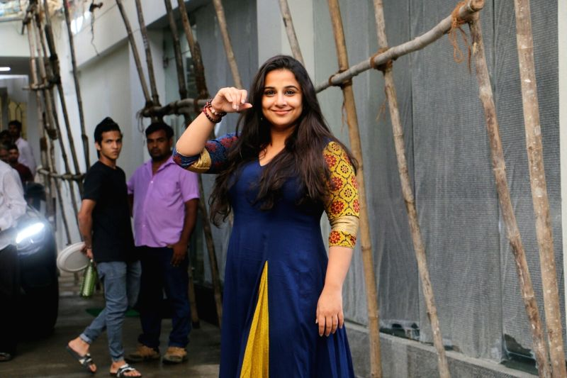 Actress Vidya Balan seen at Sunny Super Sound Recording studio, in Mumbai on Aug 11, 2018. - Vidya Balan