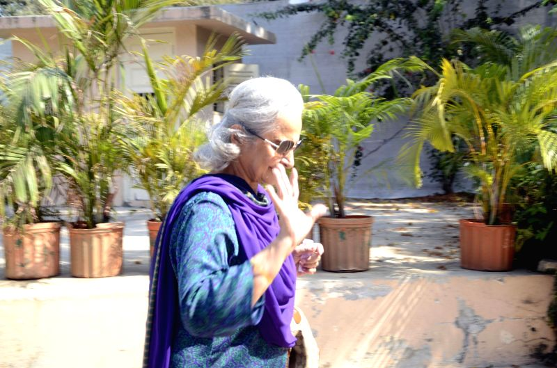 Actress Waheeda Rehman after casting he vote during the sixth phase of 2014 Lok Sabha Polls in Mumbai on April 24, 2014.