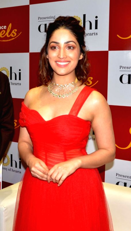 Actress Yami Gautam during a programmme organised to launch a jewellery collection in Guwahati on Dec 6, 2018. - Yami Gautam