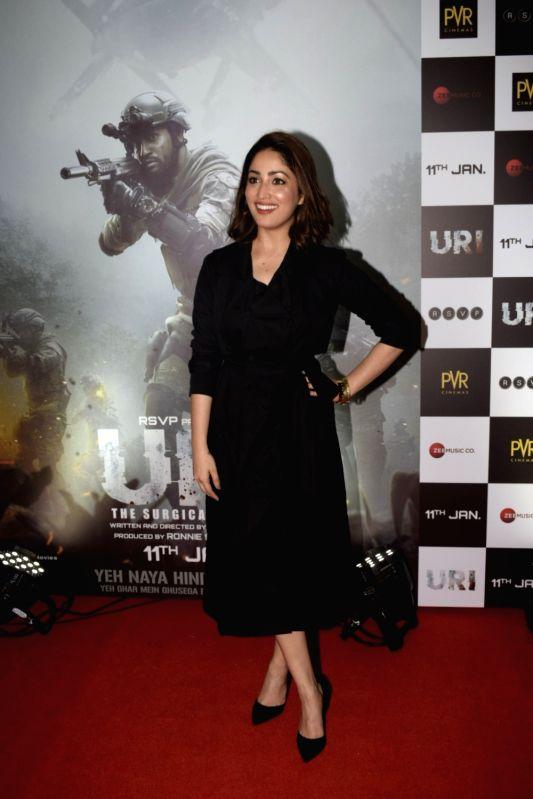 """Actress Yami Gautam during the screening of film """"Uri"""", in Mumbai on Jan 9, 2019. - Yami Gautam"""