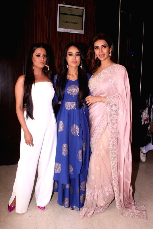 "Actresses Anita Hassanandani, Surbhi Jyoti and Karishma Tanna at the launch of their upcoming show ""Naagin 3"" in Mumbai on May 15, 2018. - Anita Hassanandani, Surbhi Jyoti and Karishma Tanna"