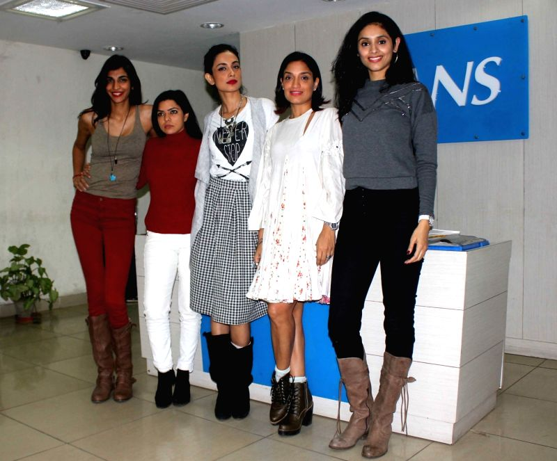 Actresses Anushka Manchanda, Rajshri Deshpande, Sarah-Jane Dias, Sandhya Mridul and Tannishtha Chatterjee at IANS office in New Delhi on Dec 2, 2015. - Anushka Manchanda, Rajshri Deshpande, Sarah-Jane Dias, Sandhya Mridul and Tannishtha Chatterjee