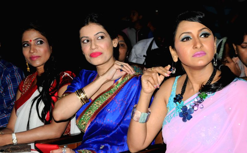 Actresses Richa Sharma, Payal Rohatgi and Rachana Banerjee during a programme in Kolkata on Aug 19, 2014.
